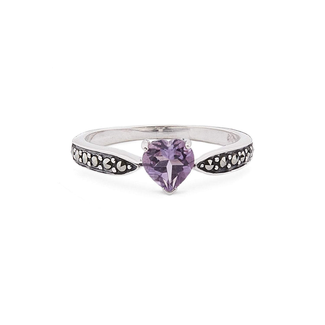 Cressida: Amethyst/Blue Topaz, Marcasite and Sterling Silver Heart Ring