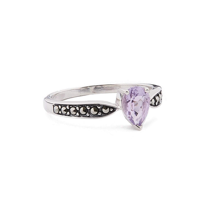 Emilia: Art Deco Pear Shaped Ring in Amethyst or Blue Topaz, Marcasite and Sterling Silver
