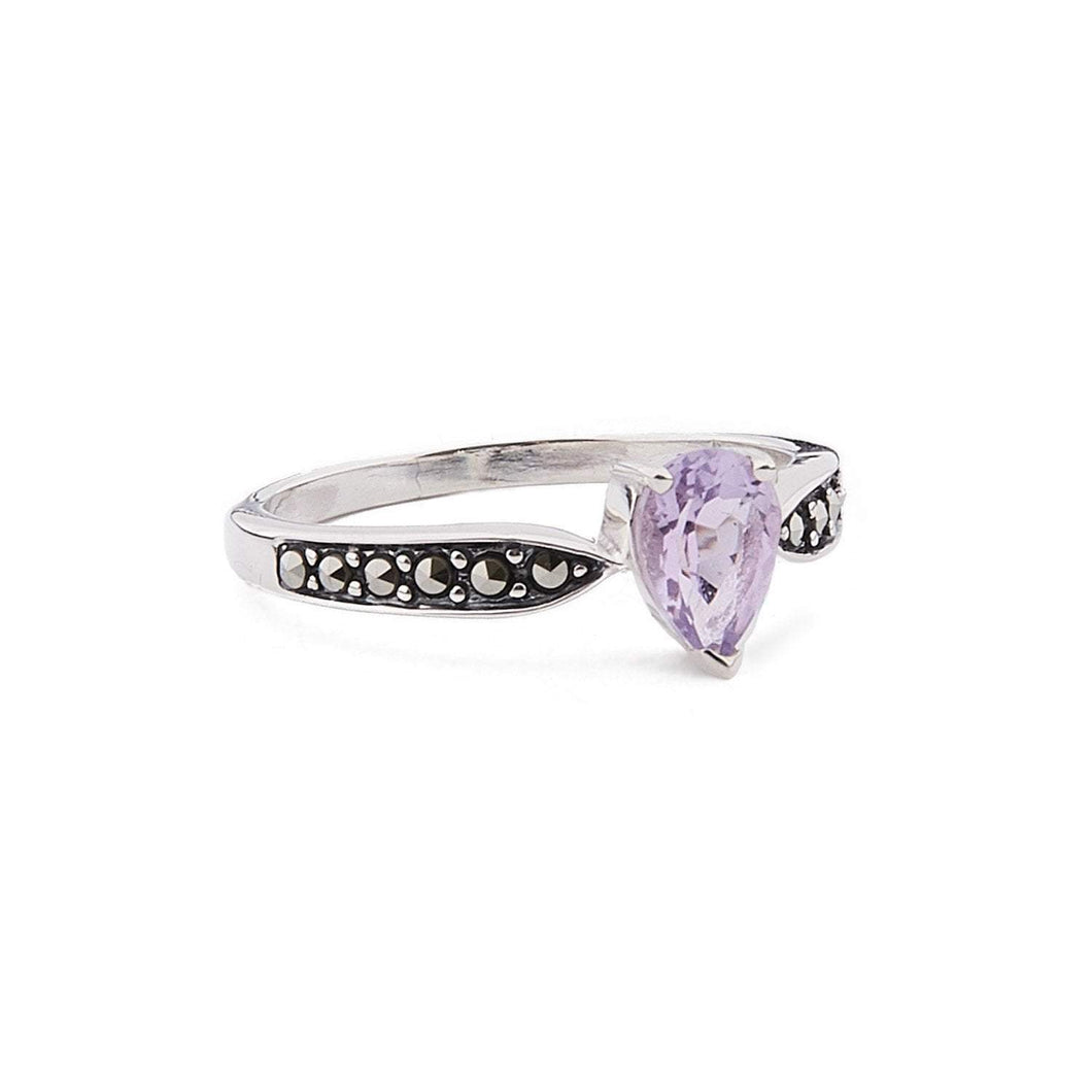 Emilia: Art Deco Pear Shaped Ring in Amethyst, Marcasite and Sterling Silver