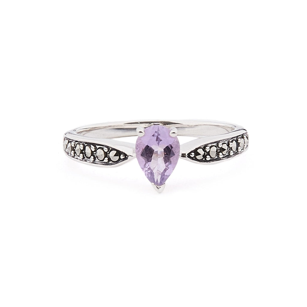 Emilia: Amethyst/Blue Topaz, Marcasite and Sterling Silver Ring