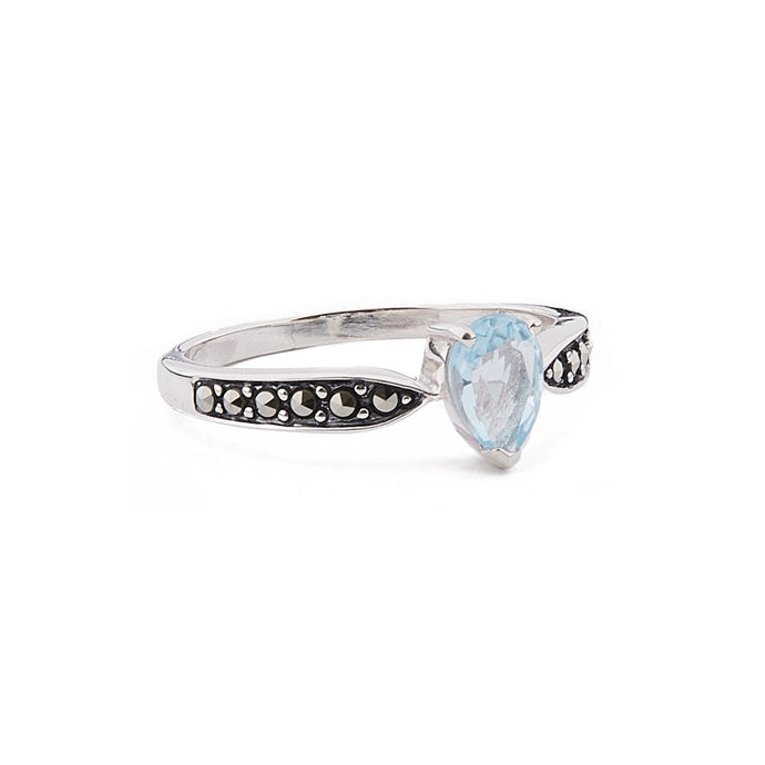 Emilia: Art Deco Pear Shaped Ring in Blue Topaz, Marcasite and Sterling Silver