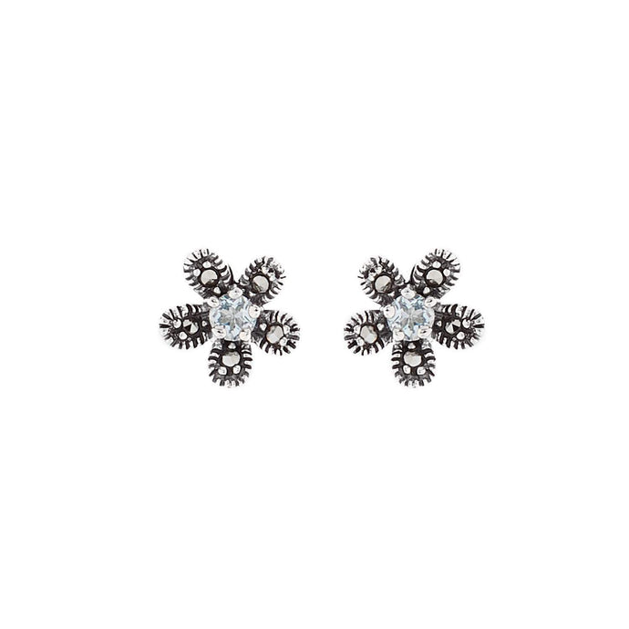 Hermia: Flower Stud Earrings in Blue Topaz, Marcasite and Sterling Silver