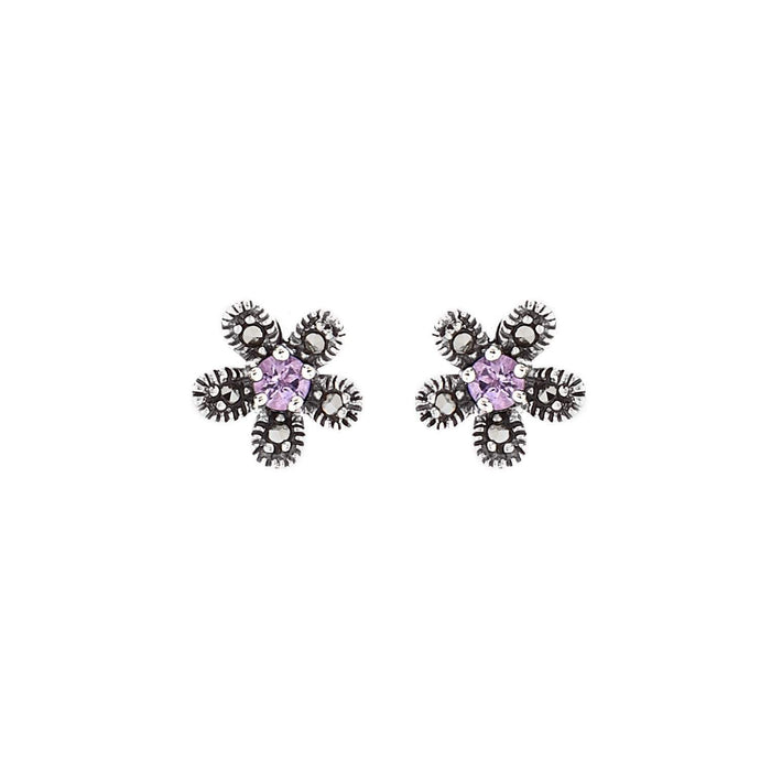Hermia: Flower Stud Earrings in Amethyst, Marcasite and Sterling Silver