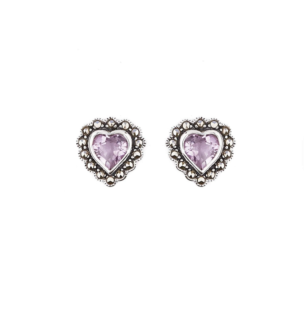 Jessica: Art Deco Heart Stud Earrings in Amethyst, Marcasite and Sterling Silver