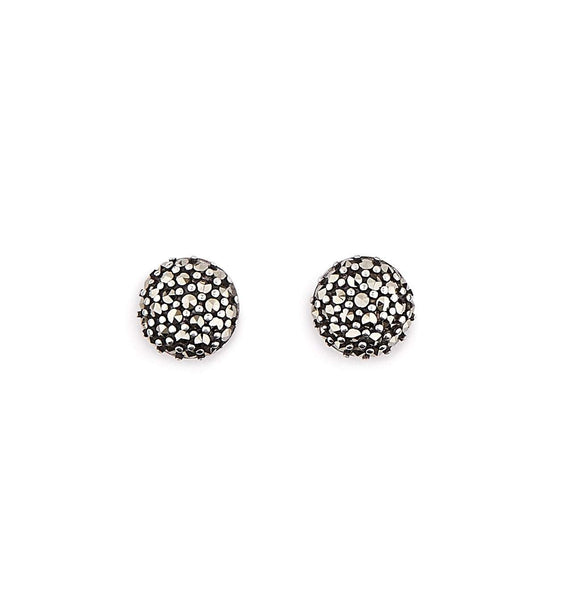 Angie: Marcasite and Sterling Silver Round Stud Earrings