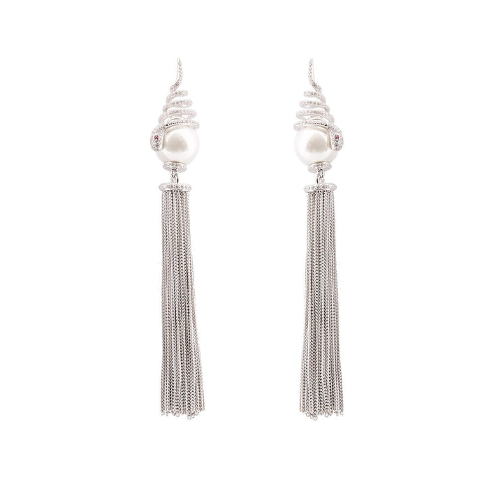 Vivien: Snake Tassle Drop Earrings in Pearl, Cubic Zirconia and Sterling Silver