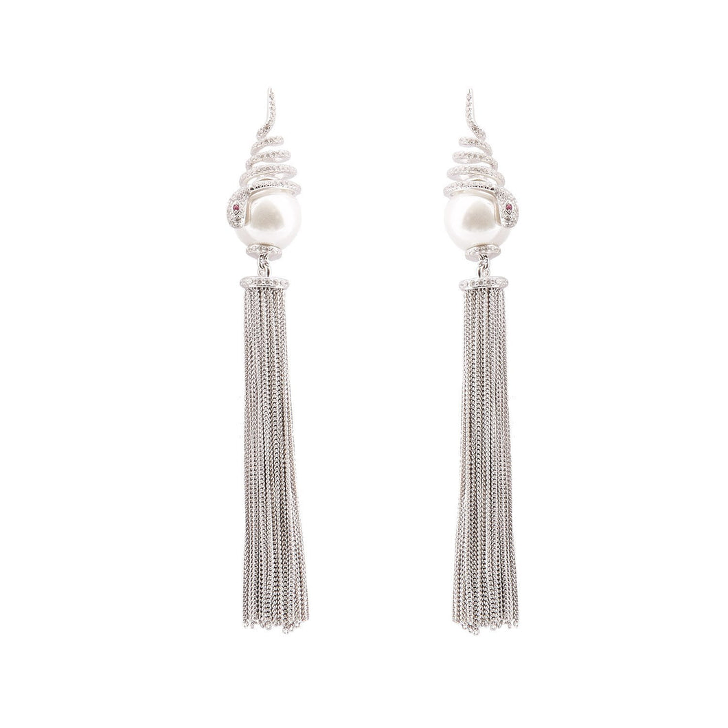 Vivien: Shell-based pearl, Cubic Zirconia, Red Corundum and Sterling Silver Tassel Earrings