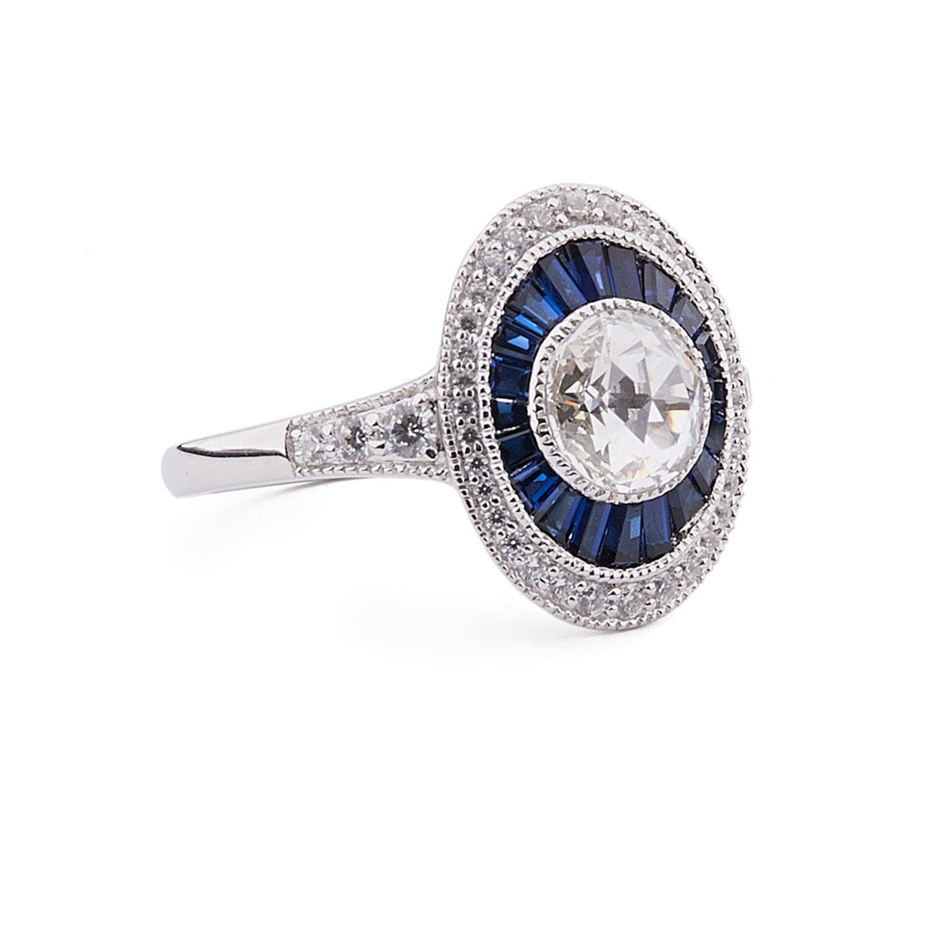 Allegra: Cubic Zirconia, Blue Corundum and Sterling Silver Ring