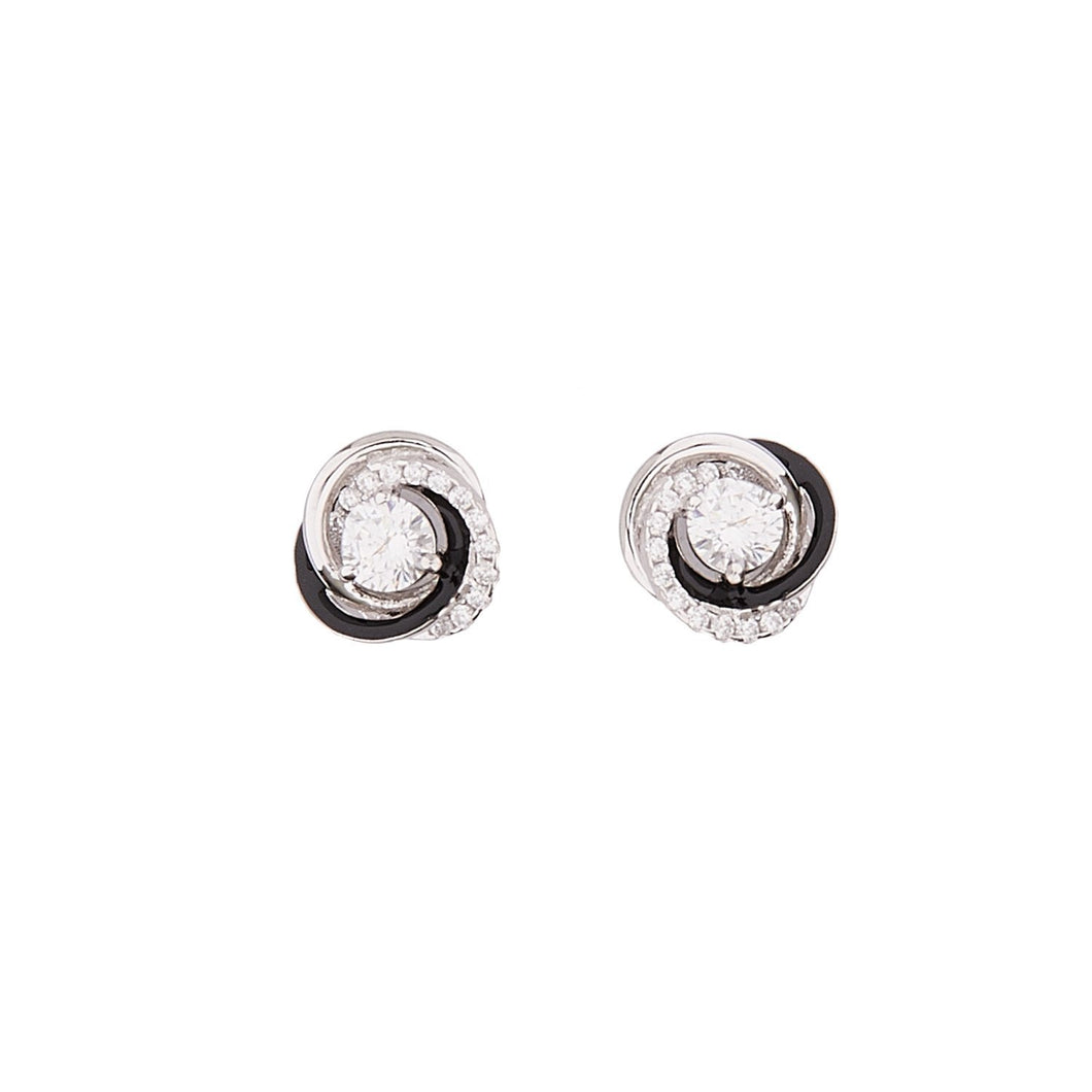 Gloria: Art Deco Stud Earrings in Cubic Zirconia, Black Enamel and Sterling Silver