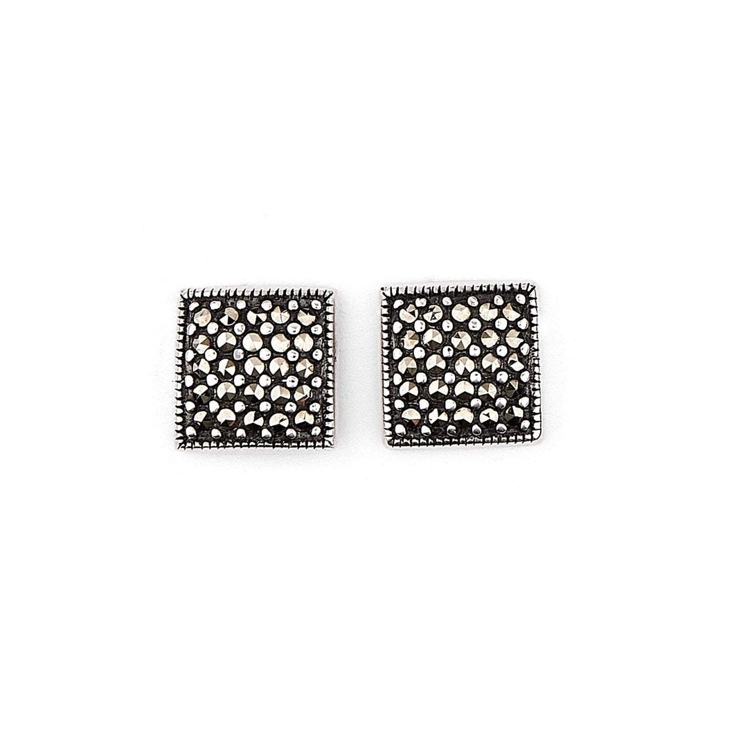 Marianne: Square Stud Earrings in Marcasite and Sterling Silver