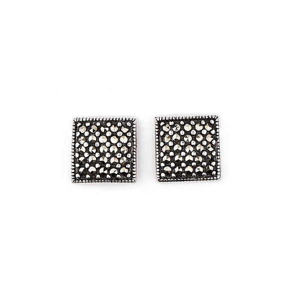 Marianne: Marcasite and Sterling Silver Square Stud Earrings
