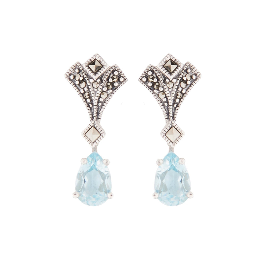 Margery: Art Deco Drop Earrings in Blue Topaz, Marcasite and Sterling Silver
