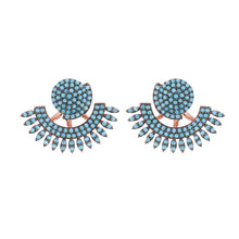 Load image into Gallery viewer, Ivy: Earrings in Turquoise and Rose Gold
