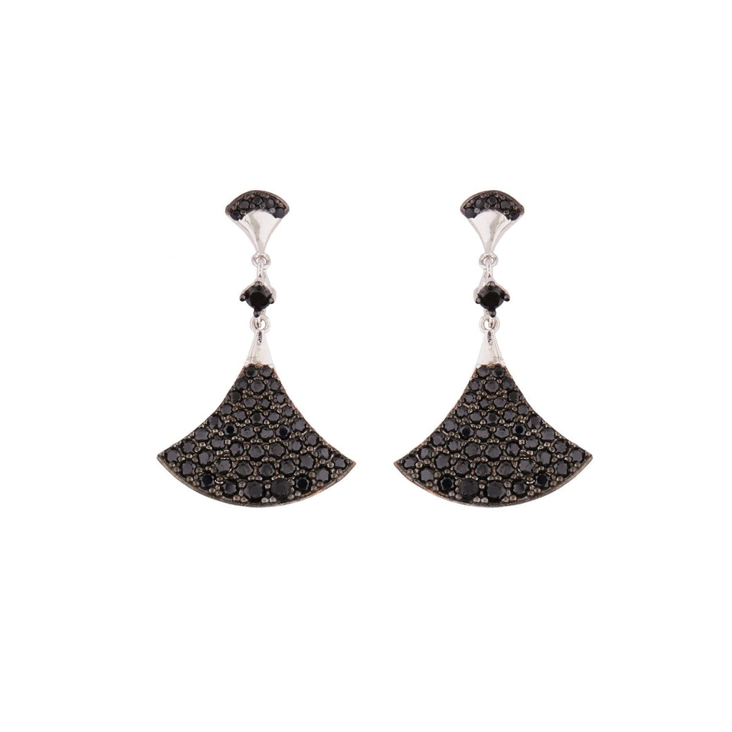 India: Drop Earrings in Black Cubic Zirconia and Sterling Silver