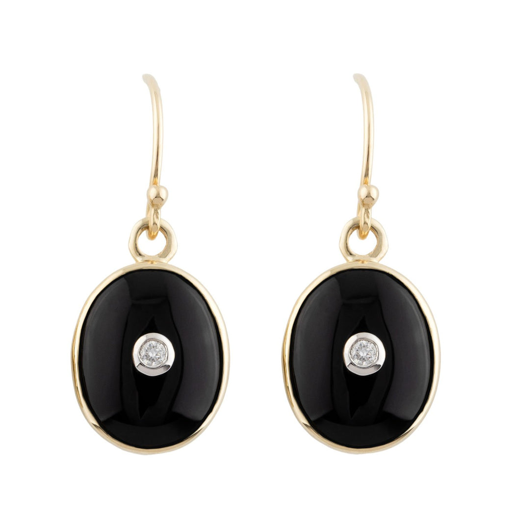 Anna: Art Deco Style Earrings in 9ct Yellow Gold, Onyx and Diamond