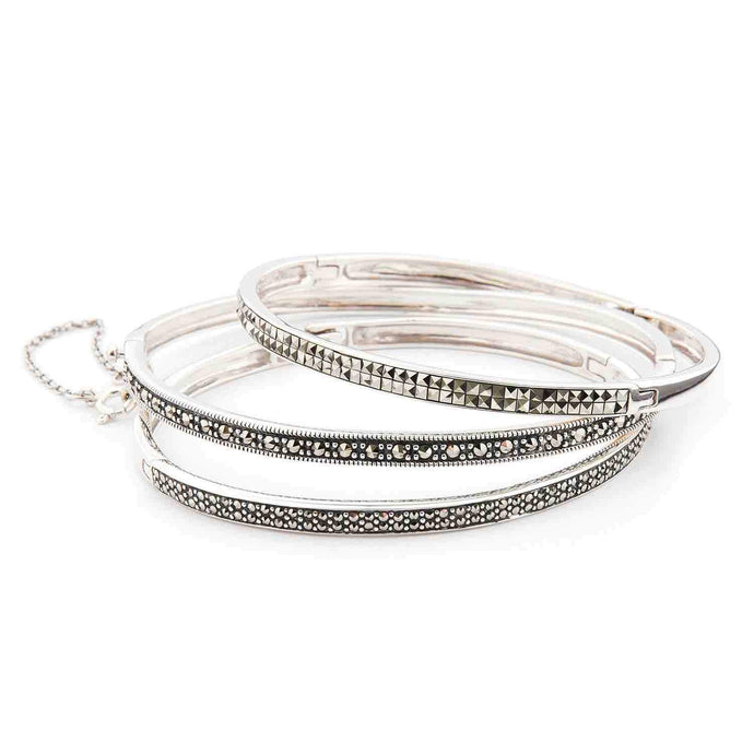 Bangle Stack: Three Marcasite and Sterling Silver Bangles