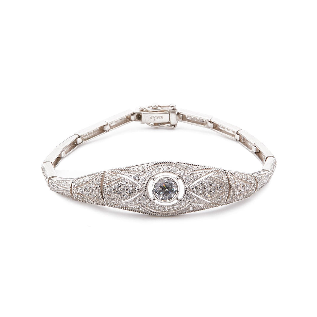 Claudette: Art Deco Bracelet in Cubic Zirconia and Sterling Silver