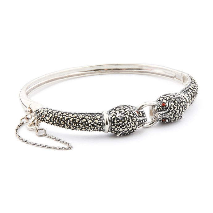 Wellington_&_North_Jewellery_Chrissie_Art_Deco_Marcasite_Carnelian_925_Sterling_Silver_Panther_Bangle