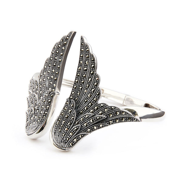 Wellington_&_North_Art_Deco_Jewellery_Stevie_Marcasite_925_Sterling_Silver_Angel_Wing_Bangle_Bracelet_Cuff