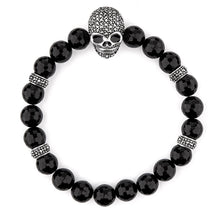 Load image into Gallery viewer, Beth: Gothic Skull Bracelet in Black Onyx, Marcasite and Sterling Silver