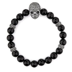 Beth: Gothic Skull Bracelet in Black Onyx, Marcasite and Sterling Silver