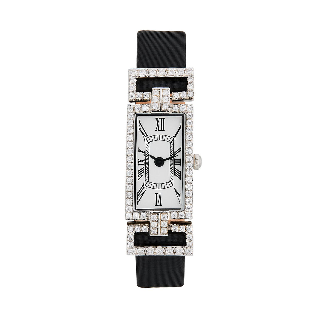 Beatrice : Art Deco Style Watch in Sterling Silver and Cubic Zirconia on a Leather Black Ribbon Strap.