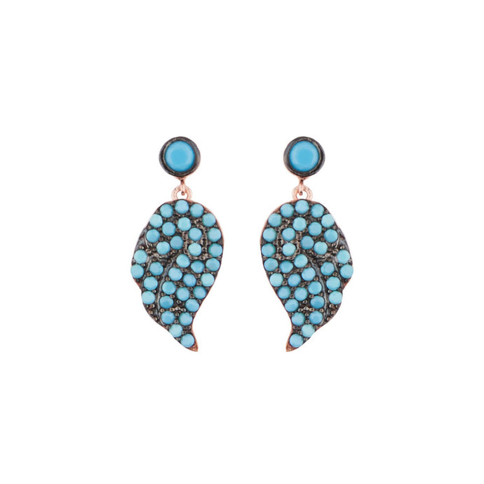 Cara: Teardrop Earrings in Turquoise, Cubic Zirconia and Rose Gold