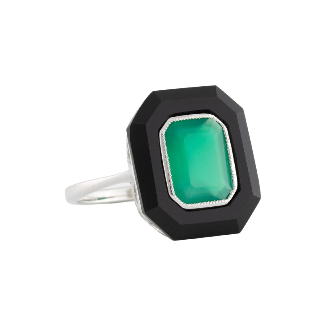 Chloe: Art Deco Style Ring in 9ct White Gold, Green Agate And Onyx