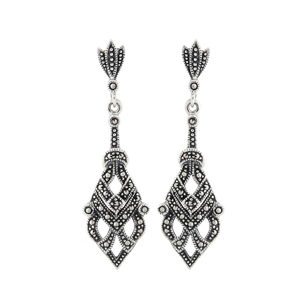 Colleen: Art Deco Earrings in Marcasite and Sterling Silver