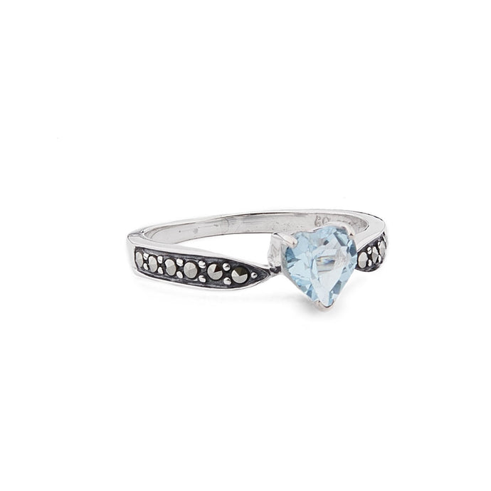 Cressida: Art Deco Heart Ring in Blue Topaz, Marcasite and Sterling Silver