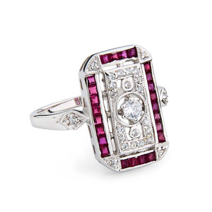 Dolores: Art Deco Style Ring in Natural Ruby, Cubic Zirconia and Sterling Silver