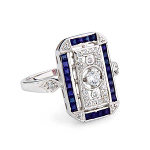 Dolores: Art Deco Style Ring in Natural sapphire, Cubic Zirconia  and Sterling Silver