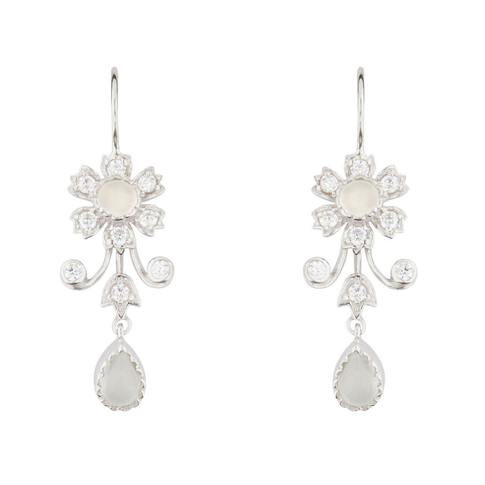 Wellington_&_North_Art_Deco_Jewellery_Ophelia_Moonstone_Cubic_Zirconia_925_Sterling_Silver_Floral_Drop_Earrings