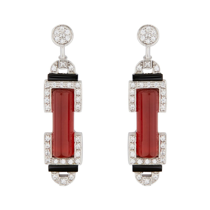 Wellington_&_North_Art_Deco_Jewellery_Marlene_Carnelian_Cubic_Zirconia_Black_Onyx_925_Sterling_Silver_Barrel_Drop_Earrings