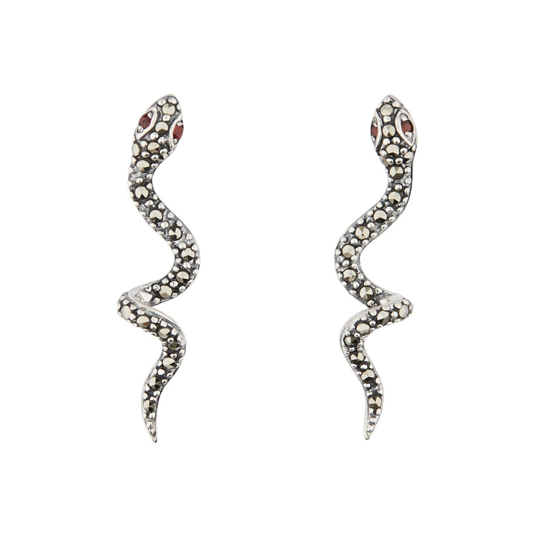 Wellington_&_North_Art_Deco_Jewellery_Suzi_925_Sterling_Silver_Marcasite_Garnet_Snake_Drop_Earrings