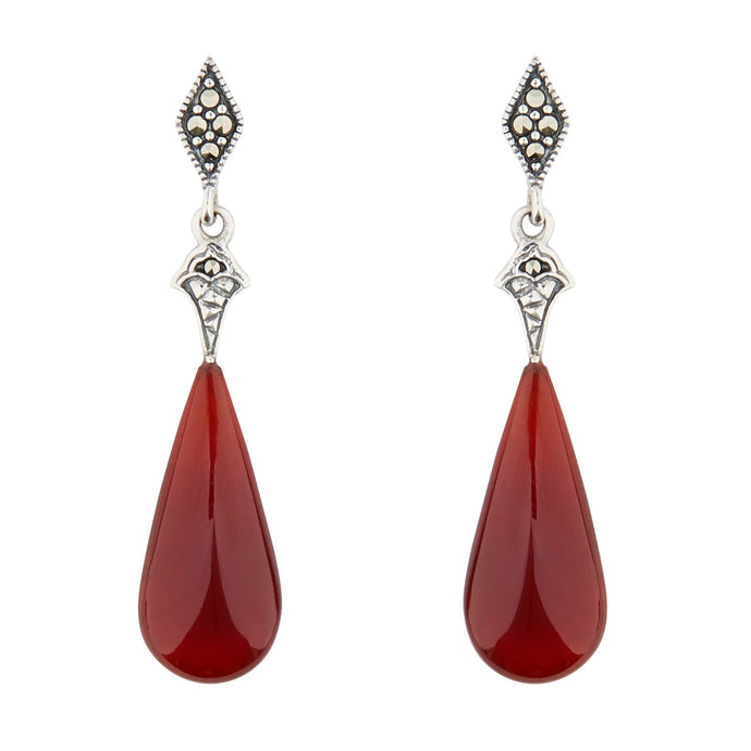 Wellington_&_North_Jewellery_Red_Cordelia_Art_Deco_Carnelian_Marcasite_925_Sterling_Silver_Drop_Earrings