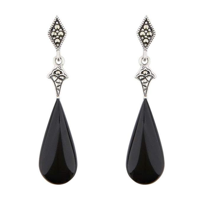 Wellington_&_North_Jewellery_Black_Cordelia_Art_Deco_Black_Onyx_Marcasite_925_Sterling_Silver_Drop_Earrings