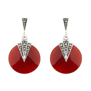 Wellington_&_North_Art_Deco_Jewellery_Mabel_Carnelian_Marcasite_925_Sterling_Silver_Round_Drop_Earrings