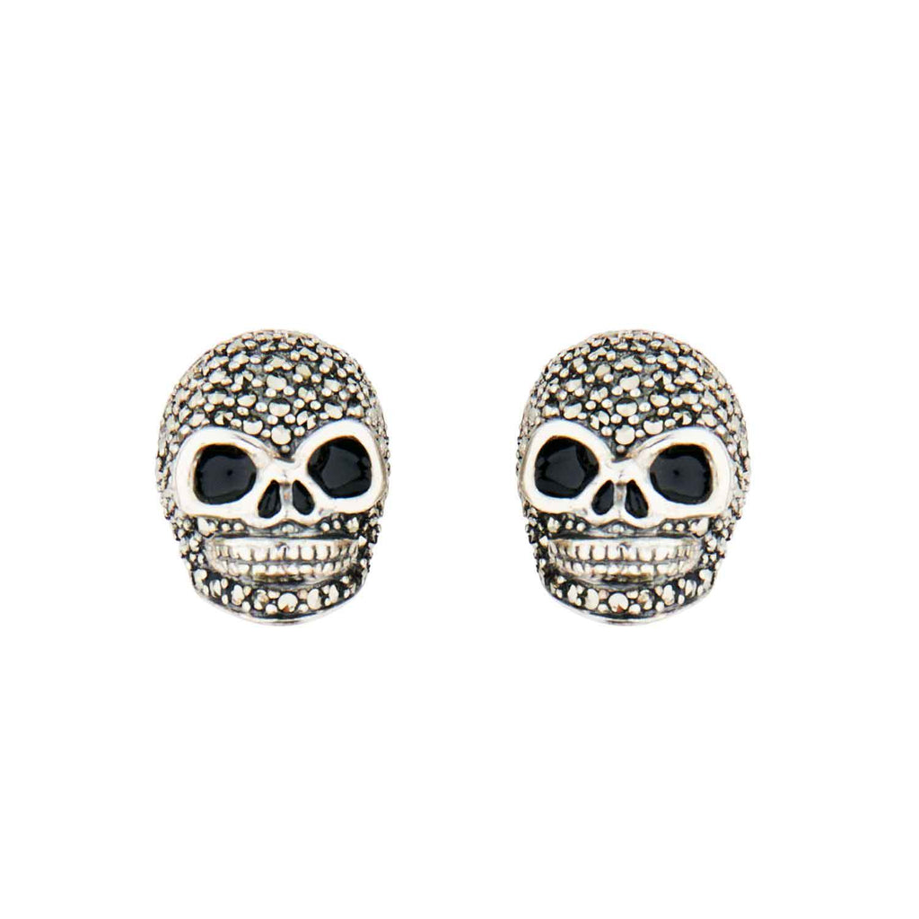 Wellington_&_North_Jewellery_Jett_Marcasite_Black_Enamel_925_Sterling_Silver_Skull_Stud_Earrings