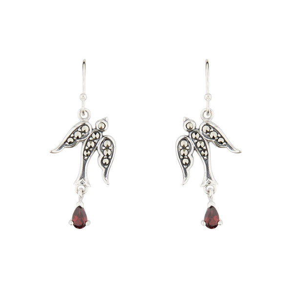 Wellington_&_North_Jewellery_Joni_Marcasite_Red_Garnet_925_Sterling_Silver_Swallow_Earrings