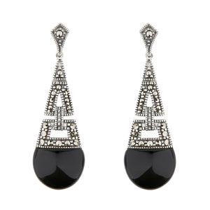Wellington_&_North_Jewellery_Ella_Art_Deco_Black_Onyx_Marcasite_925_Sterling_Silver_Drop_Earrings