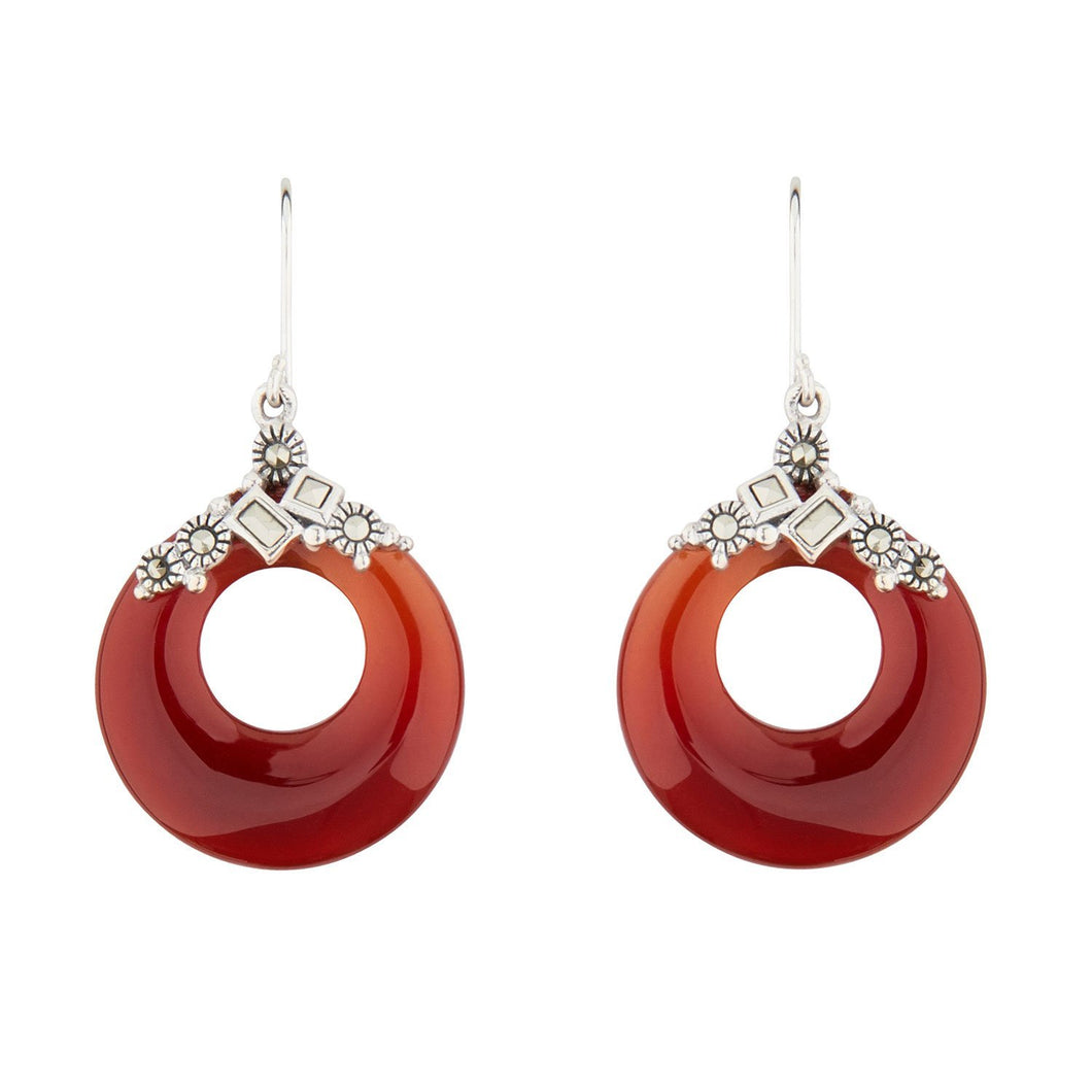 Wellington_&_North_Jewellery_Red_Elsie_Art_Deco_Carnelian_Marcasite_925_Sterling_Silver_Circular_Drop_Earrings