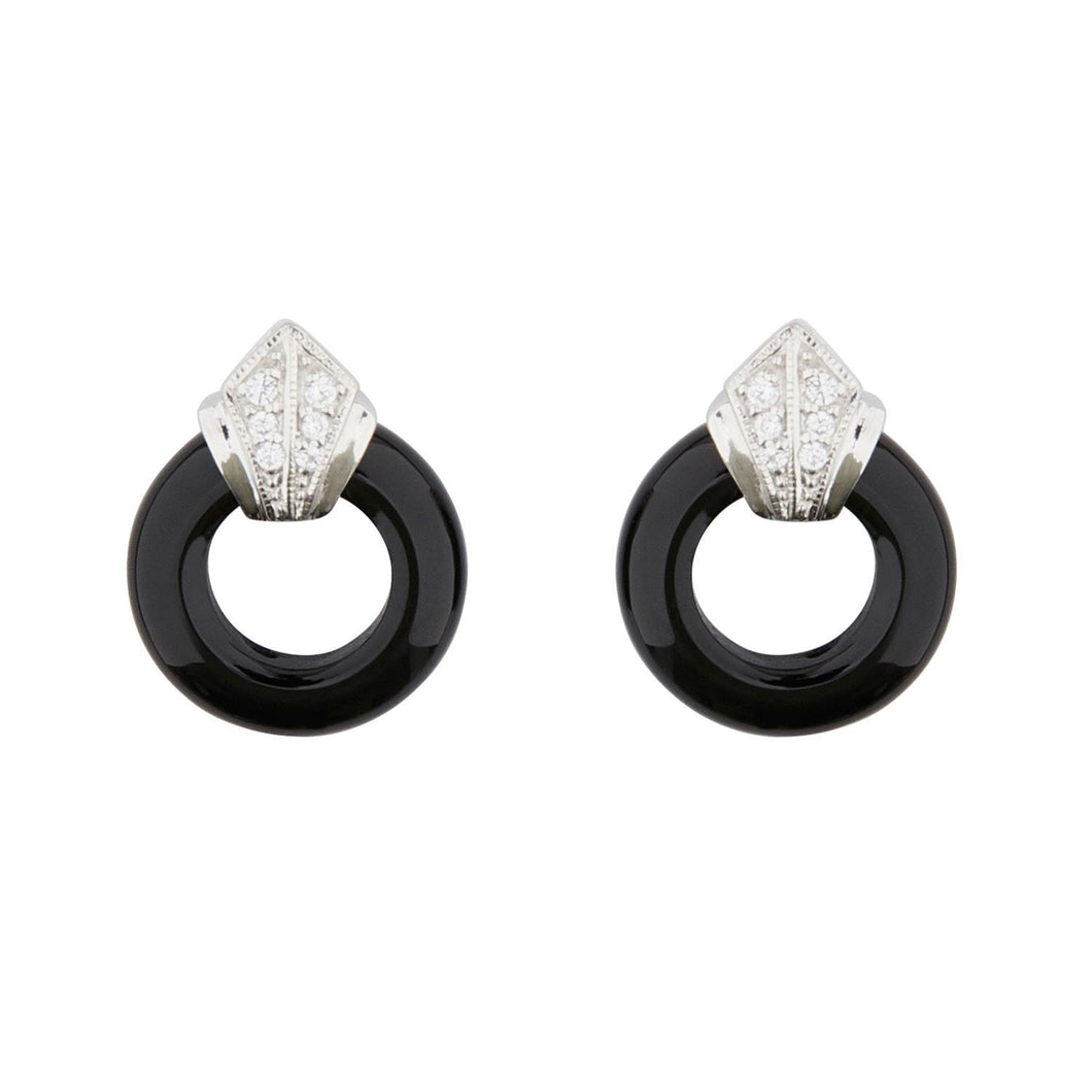 Wellington_&_North_Art_Deco_Jewellery_Katherine_Black_Onyx_Cubic_Zirconia_925_Sterling_Silver_Small_Hoop_Earrings