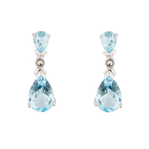 Wellington_&_North_Jewellery_Helena_Art_Deco_Blue_Topaz_Marcasite_925_Sterling_Silver_Drop_Earrings