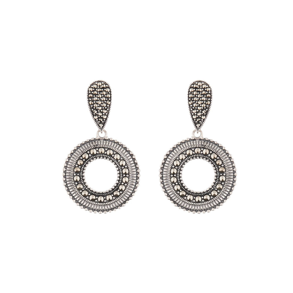 Aria: Marcasite and Sterling Silver Drop Earrings