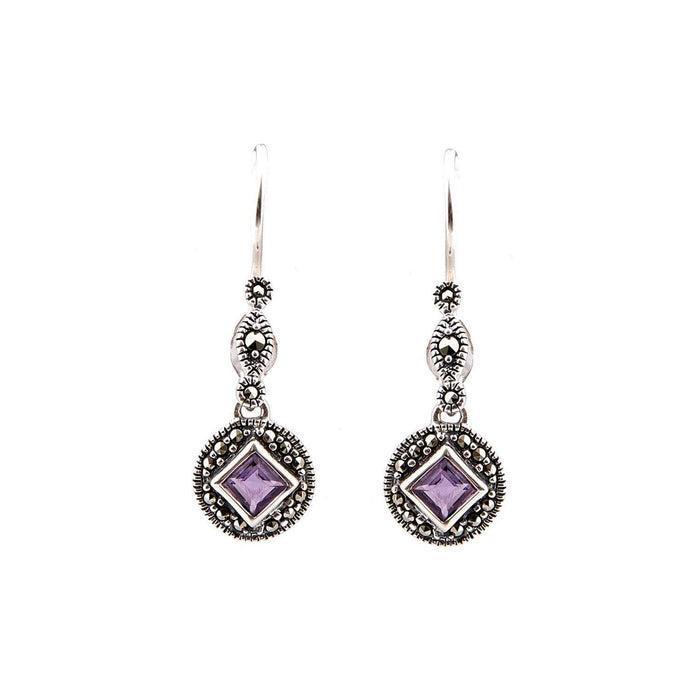 Miranda: Art Deco Drop Earrings in Amethyst or Blue Topaz, Marcasite and Sterling Silver