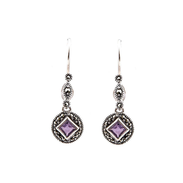 Miranda: Amethyst/Blue Topaz, Marcasite and Sterling Silver Drop Earrings