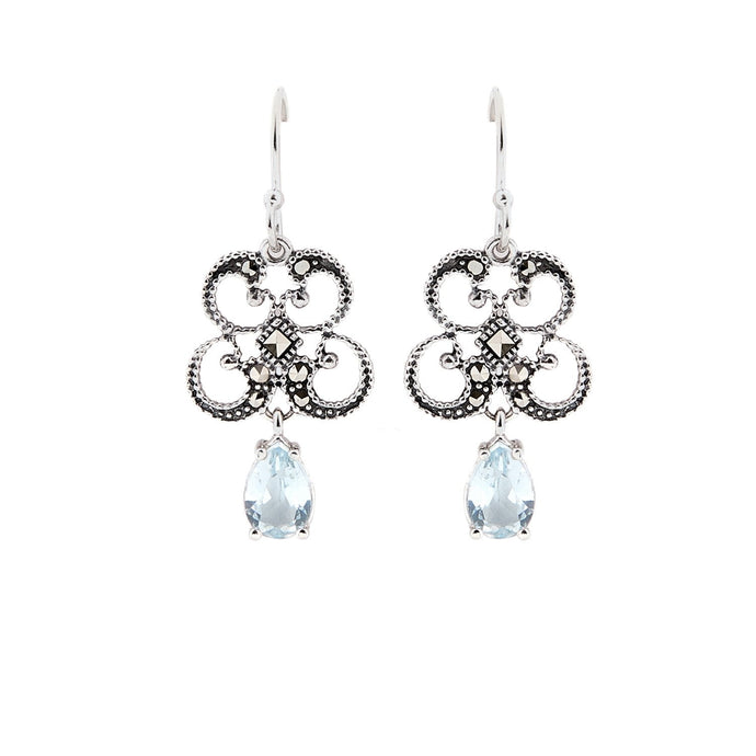 Titania: Art Deco Drop Earrings in Blue Topaz, Marcasite and Sterling Silver
