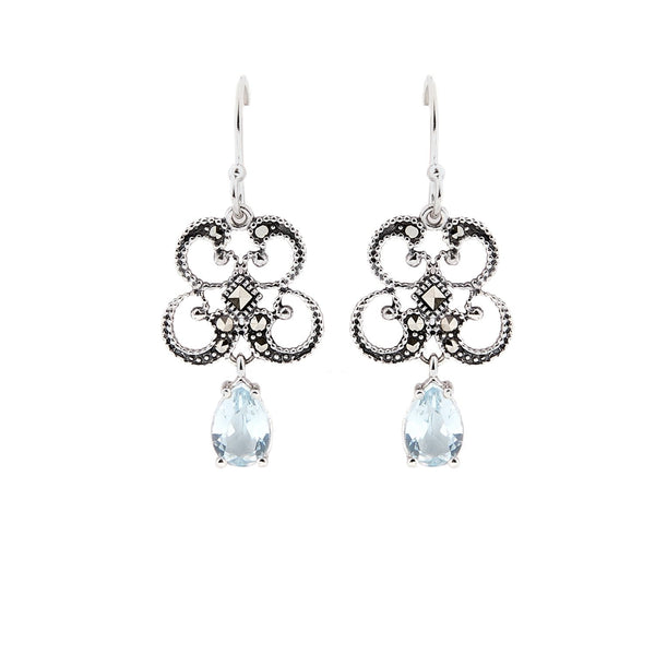 Titania: Blue Topaz, Marcasite and Sterling Silver Earrings