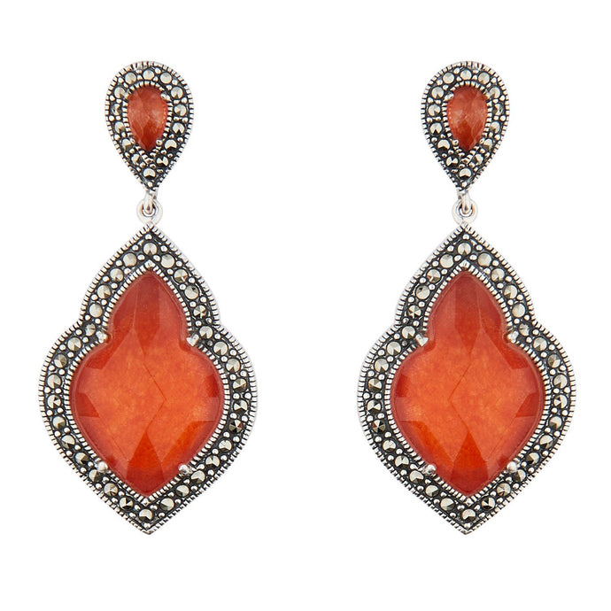 Wellington_&_North_Art_Deco_Jewellery_Rita_Red_Jade_Marcasite_925_Sterling_Silver_Drop_Earrings